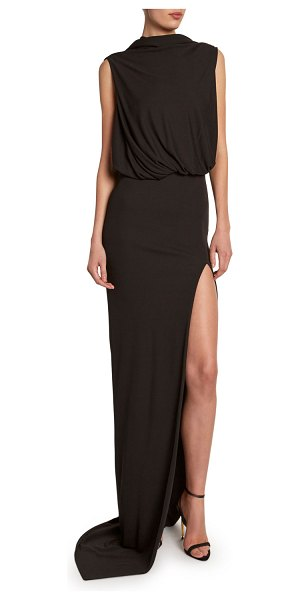 TOM FORD Draped Gown with Open Slim Skirt in black