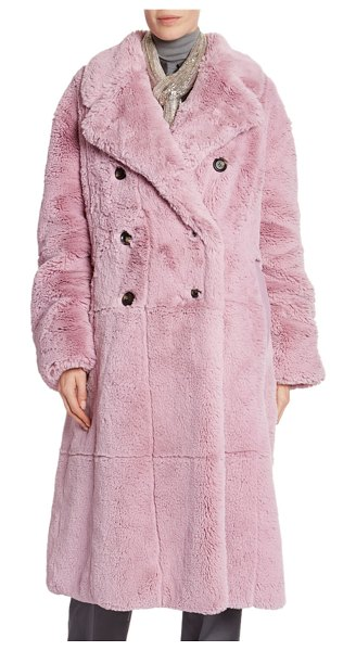 TOM FORD Faux-Fur Double-Breasted Big Coat in light pink