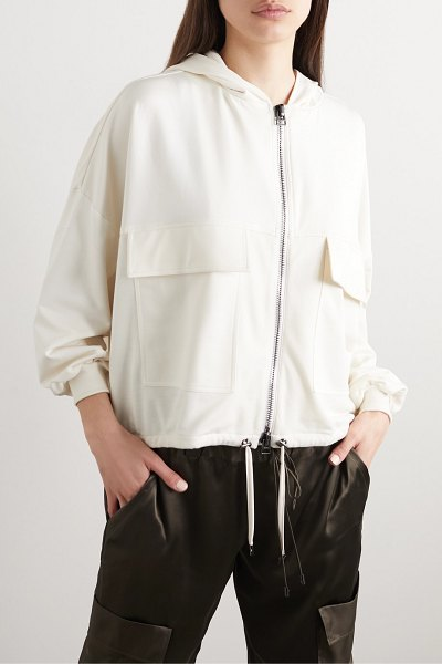TOM FORD hooded paneled jersey, satin and piqué track jacket in white