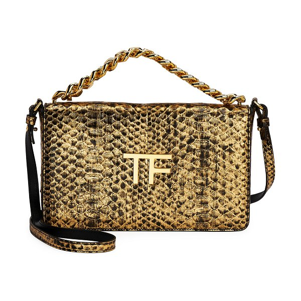 TOM FORD Large Laminated Python TF Shoulder Bag in gold