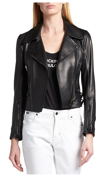 TOM FORD Leather Fitted Biker Jacket in black