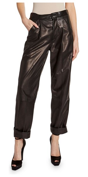 TOM FORD Leather Front-Pleated Crop Pants in black