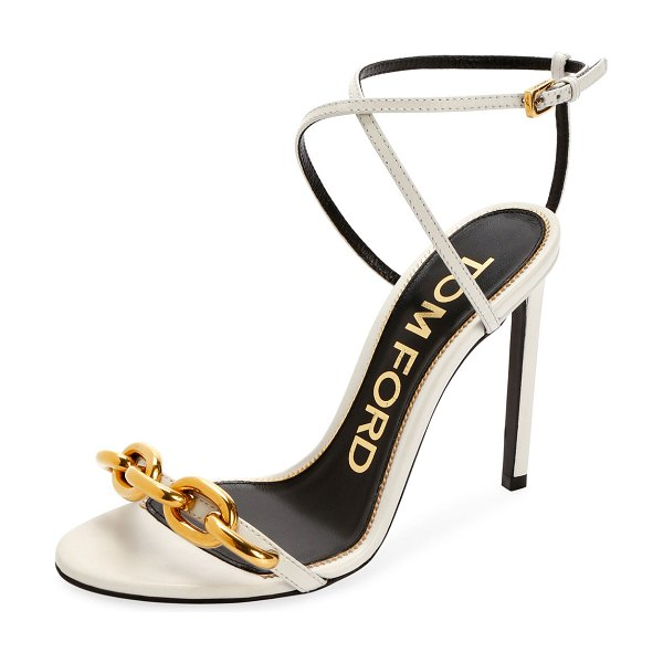 TOM FORD Leather Sandals with Chain Trim in white