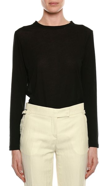 TOM FORD Long-Sleeve Round-Neck Cotton Top in black - Tom Ford cotton top. Round neckline. Long sleeves....