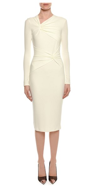 TOM FORD Long-Sleeve Shirred Neck & Waist Fitted Day Dress - Tom Ford day dress with shirred knots at neck and waist....