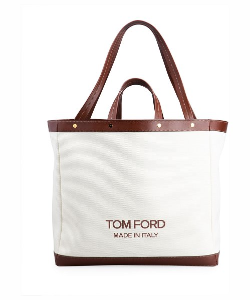 TOM FORD Medium Logo Shopping Tote Bag in c7713 white cuoio