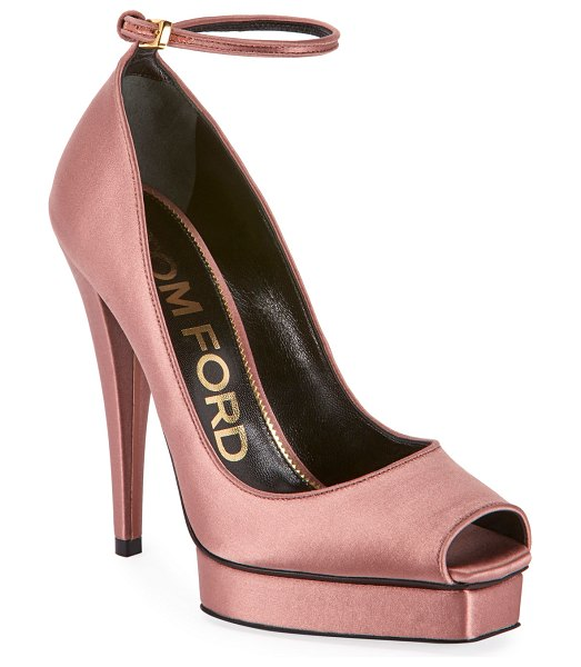TOM FORD Peep-Toe Platform Ankle-Wrap Pumps in pink