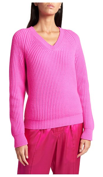 TOM FORD Ribbed Cashmere V-Neck Sweater in pink