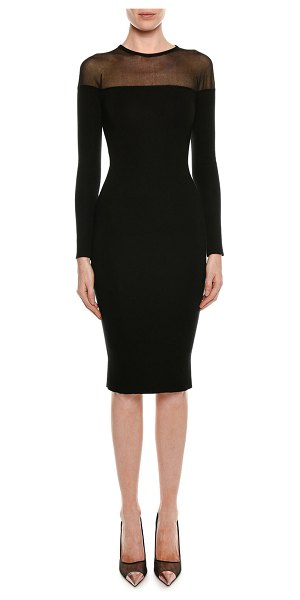 83664dfa131 TOM FORD Round-Neck Illusion-Yoke Silk Knit Cocktail Dress in Black ...