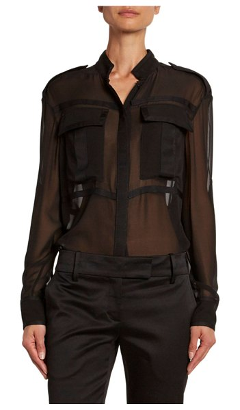 TOM FORD Sheer Chiffon Safari Shirt in black