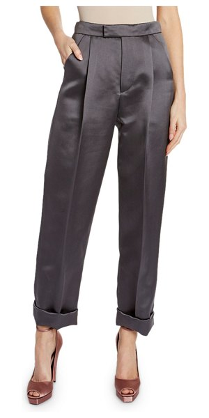TOM FORD Silk Duchesse Front Pleated Crop Pants in charcoal