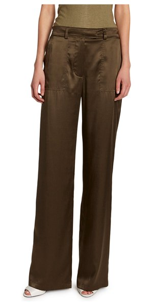 TOM FORD Silk Straight-Leg Pants in olive