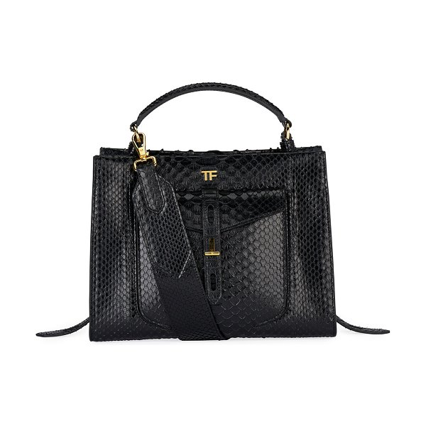 TOM FORD Small Python Top Handle Bag in black