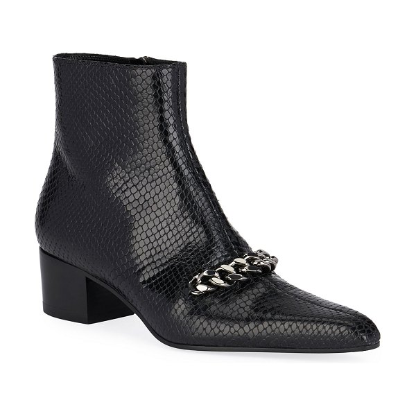 TOM FORD Snake-Embossed Chain Ankle Booties in black