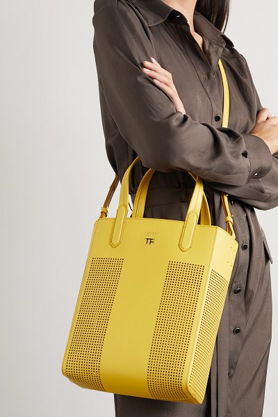 TOM FORD t medium perforated leather tote in yellow
