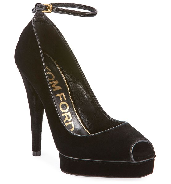 TOM FORD Velvet Platform Peep-Toe Ankle Pumps in black