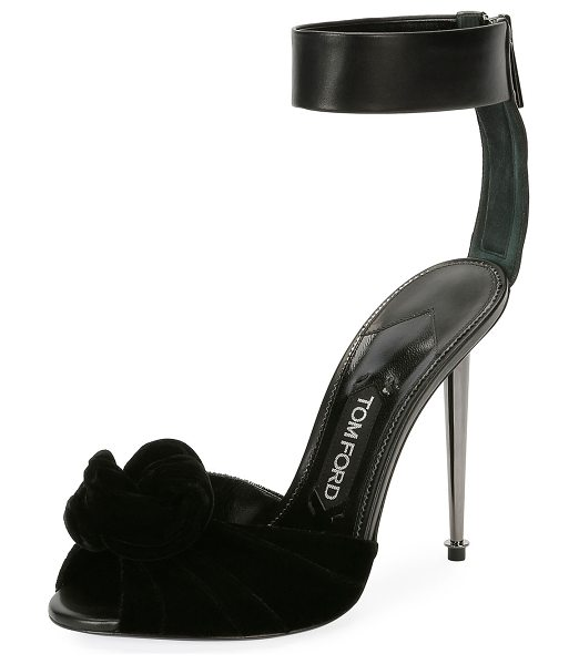 "TOM FORD Velvet/Leather Knot Hardware-Heel Sandal in black - TOM FORD sandal in velvet and calf leather. 4.1""..."