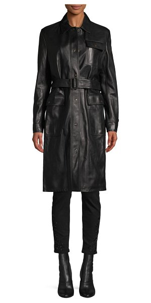 Tomas Maier Belted Leather Long Jacket in black