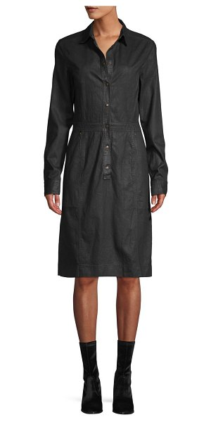 Tomas Maier Spread Collar Denim Knee-Length Shirtdress in dark navy