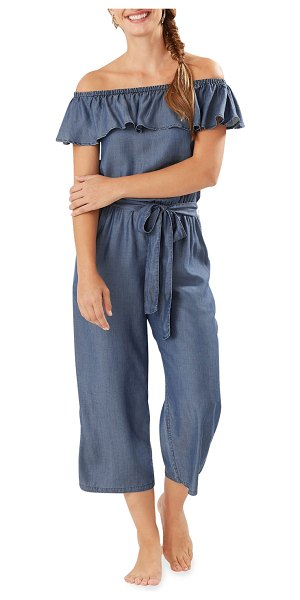 Tommy Bahama Chambray Off-the-Shoulder Crop Jumpsuit in chambray