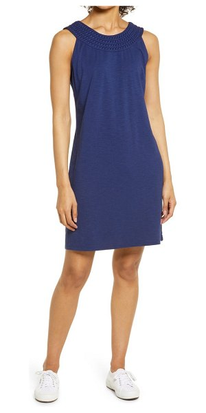 Tommy Bahama embroidered neck dress in island navy
