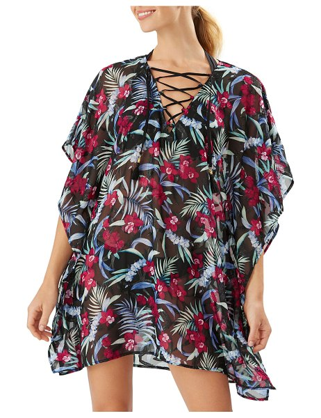 Tommy Bahama Midnight Orchid Lace-Up Floral Coverup Tunic in black