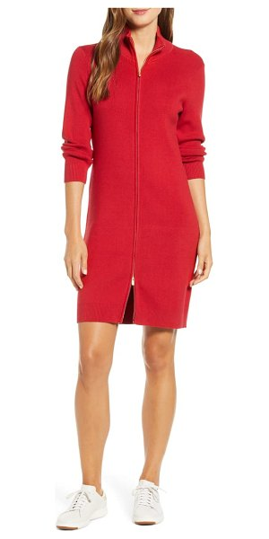 Tommy Bahama pickford rib full zip sweater dress in jester red