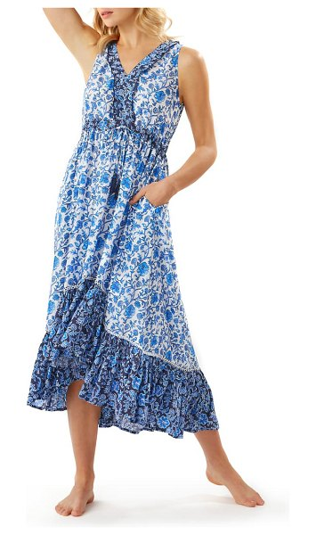 Tommy Bahama woodblock cover-up dress in mare navy