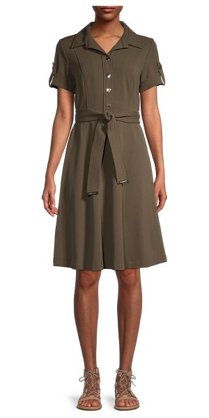 Tommy Hilfiger Scuba Crepe Shirtdress in olive