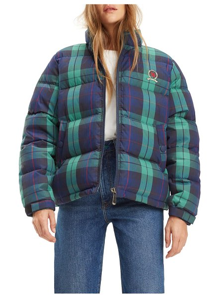 Tommy Jeans tjw plaid puffer jacket in blue - With tartan patterning and an embroidered crest, Tommy...