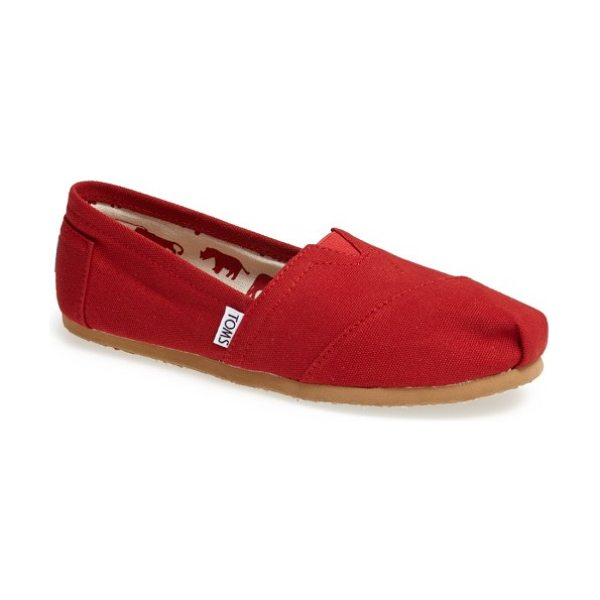 TOMS classic canvas slip-on in red
