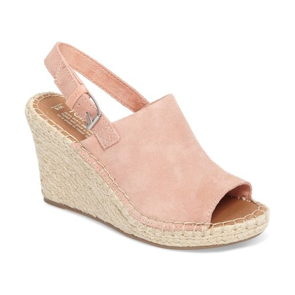 TOMS monica slingback wedge in bloom suede - Artfully braided jute wraps around the platform and...