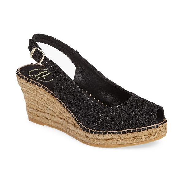 Toni Pons calafell slingback wedge espadrille in black fabric
