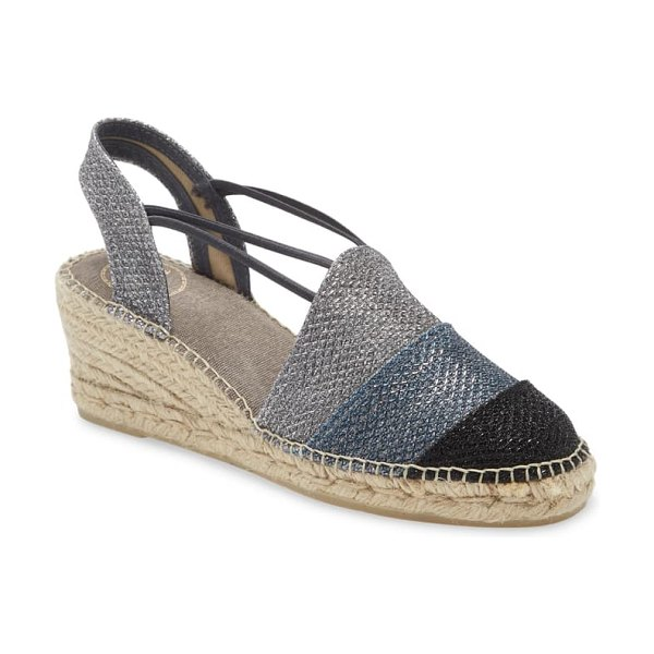 Toni Pons tour espadrille wedge in blue fabric
