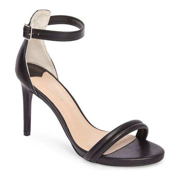 Tony Bianco camila strappy sandal in black capretto leather - A plump, channel-stitched strap bridges the toe of a...