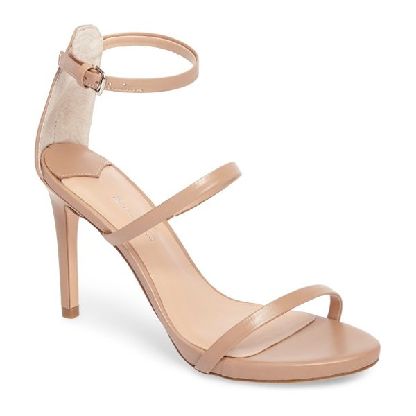 Tony Bianco carey three-strap sandal in skin capretto leather - Three ultra-slender straps ladder up the front of a...