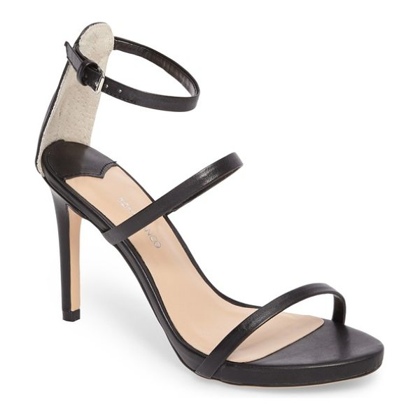 Tony Bianco carey three-strap sandal in black capretto leather - Three ultra-slender straps ladder up the front of a...