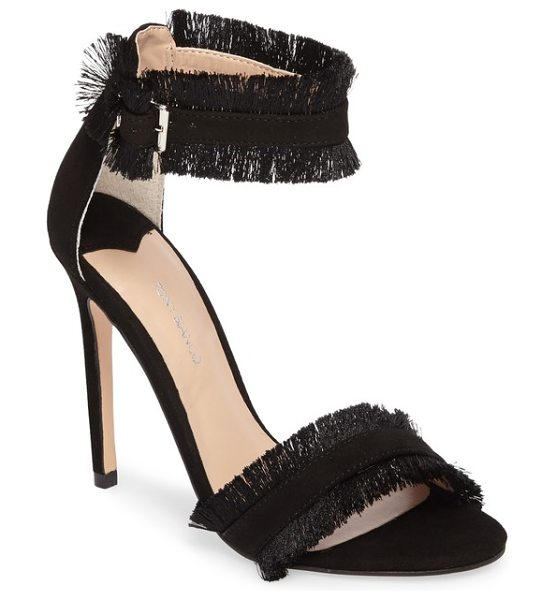 Tony Bianco kimi fringed strappy sandal in black suede - Soft fringe frames the straps of a sky-high sandal with...