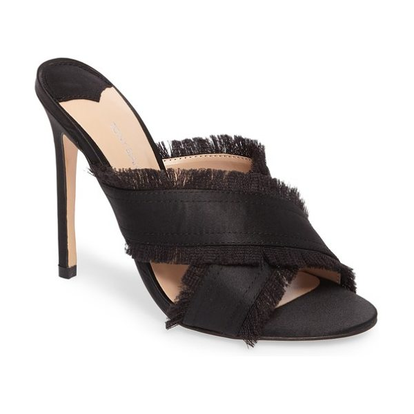 TONY BIANCO klay fringed cross strap mule - Satiny straps edged in soft fringe cross gracefully at...