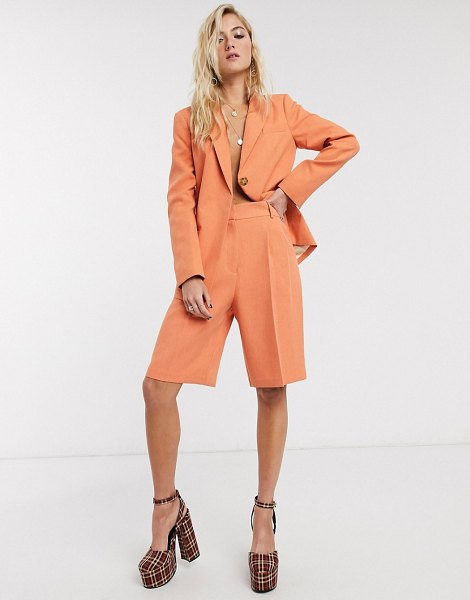 Topshop belted city short two-piece in apricot-orange in orange