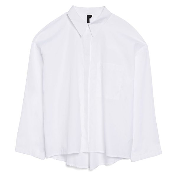 6e38944d TOPSHOP Boutique Popper Sleeve Boxy Shirt in White | Shopstasy