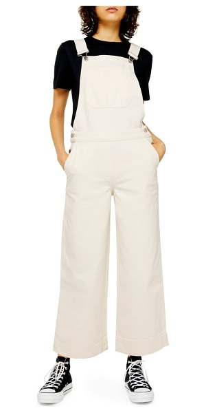 Topshop boutique wide leg overalls in cream