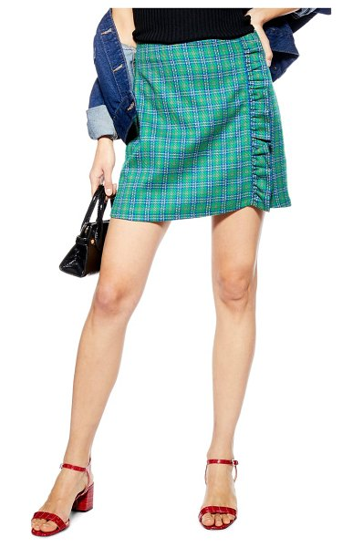 Topshop check frill miniskirt in green - Decadent side ruffles add feminine charm to this...