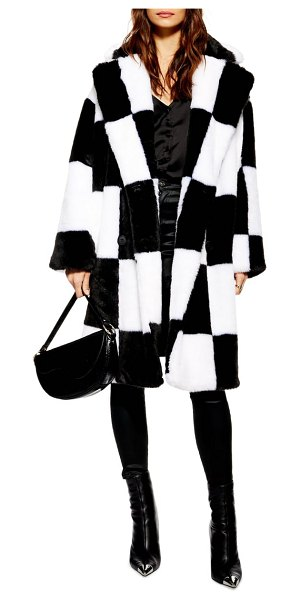 Topshop checkerboard faux fur coat in women~~outerwear~~3/4 or long coat