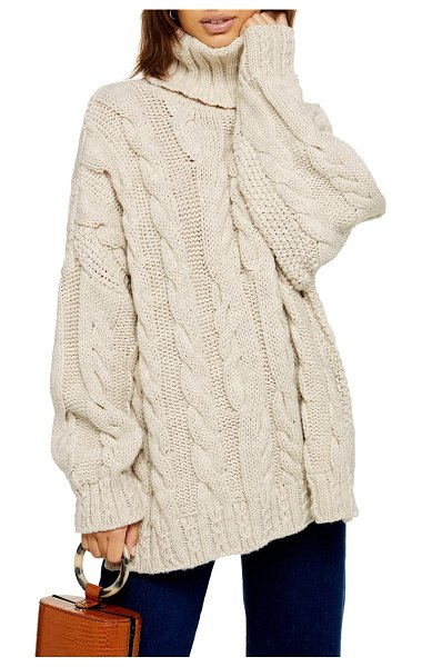 Topshop chunky cable turtleneck sweater in oatmeal