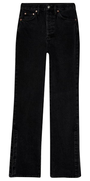 Topshop considered split outseam high waist jeans in washed black