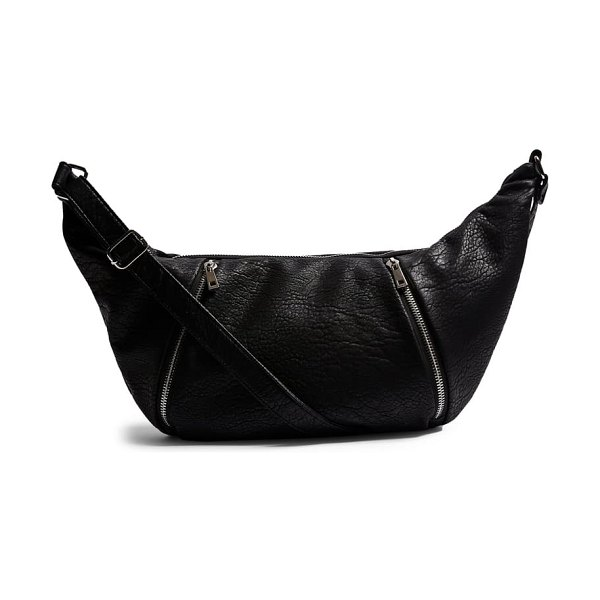 Topshop croissant faux leather crossbody bag in black