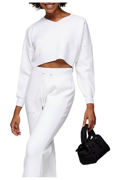 Topshop crop sweater in ivory
