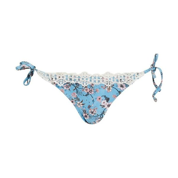 04674fa7014e0 Topshop Ditsy Lace Trim Tie Side Bikini Bottoms in Blue