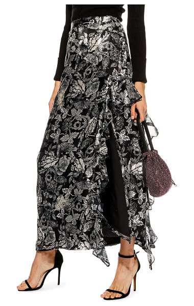 Topshop feather embellished floral maxi skirt in silver multi